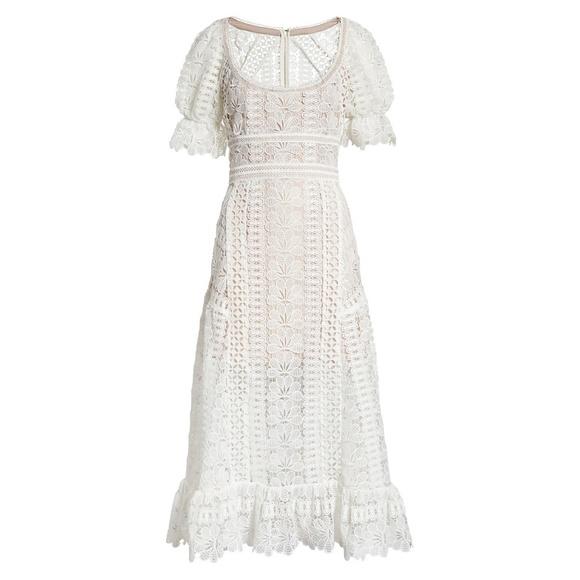 15fb2f1e4ff5ae Self-Portrait Dresses | Selfportrait White Floral Guipure Lace Midi ...